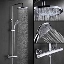 Bathroom Thermostatic Shower Set. Round Thermostatic Shower Faucet Mixer. 8 Square Shower Head, Round Hand Shower. Chrome Finish стоимость
