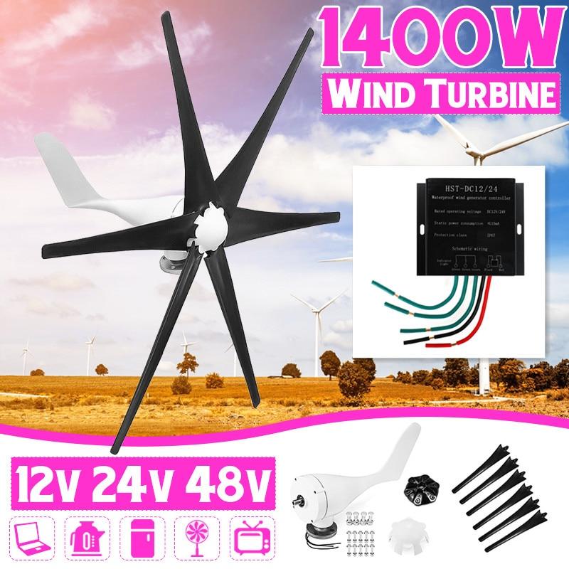 1400 W 12 V/24 V/48 V 6 pales + contrôleur éoliennes générateur puissance moulin à vent énergie Turbines Charge pour la maison ou le Camping