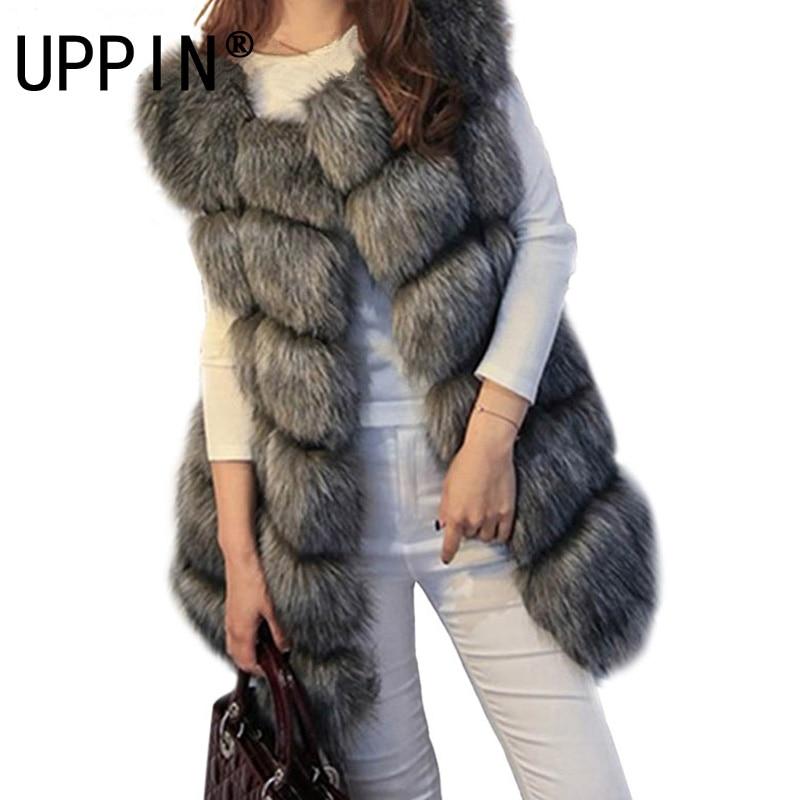 S-4XL Женщина Меховой Жилет 2017 Новый Зима Теплая Искусственного Лиса меховой Жилет Женщины Высокого Класса Мода О-Образным Вырезом Длинный Мех Пальто кардиган