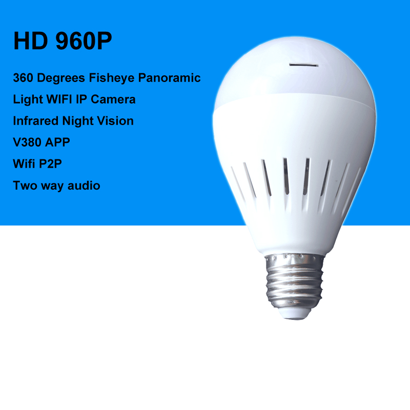 1.3MP infrared Night Vision Lamp WIFI Camera 960P Panoramic FishEyes Bulb Light Wireless IP Camera Support 64GB TF Card keyshare dual bulb night vision led light kit for remote control drones