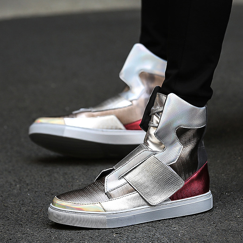 Fshion Silver Mens Hip Hop Shoes Brand Designer Casual Shoes Men High Top Lace Up Flats pop shoes Sapatenis Masculinos T030716 gram epos men casual shoes top quality men high top shoes fashion breathable hip hop shoes men red black white chaussure hommre