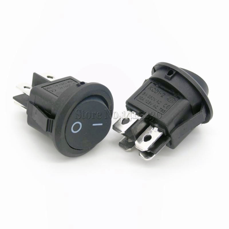 10Pcs 23mm Round Black 4 Pin 10A/125V 6A/250V AC 2 Position DPDT ON-OFF Rocker Switch Snap-in 5pcs 15mm small round black 2 pin 2 files 3a 250v 6a 125v rocker switch seesaw power switch for car dash dashboard toys