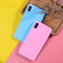 Solid Color Phone Case For iPhone XS Max XR X 7 8 Plus 6 6S 5 5S SE Silicone Luxury Candy Cute Soft TPU Back Cover
