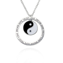 Retro Black And White Yin And Yang Tai Chi Pendant Necklace Silver Alloy Letter Round Tag Necklace Men And Women Trend Jewelry