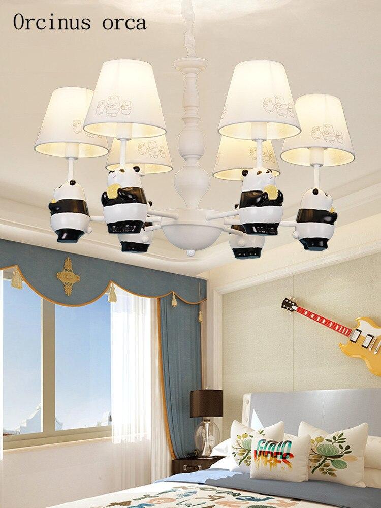 Dessin animé création panda suspension lampe garçon fille chambre enfant chambre lampe américain moderne LED résine animal suspension lampe livraison gratuite