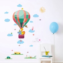 Colorful Hot Air ball Cartoon Wall Decals Baby Kids Room Stickers Removeable Art Bedroom Decoration high quality colorful cartoon forest pattern removeable wall stickers