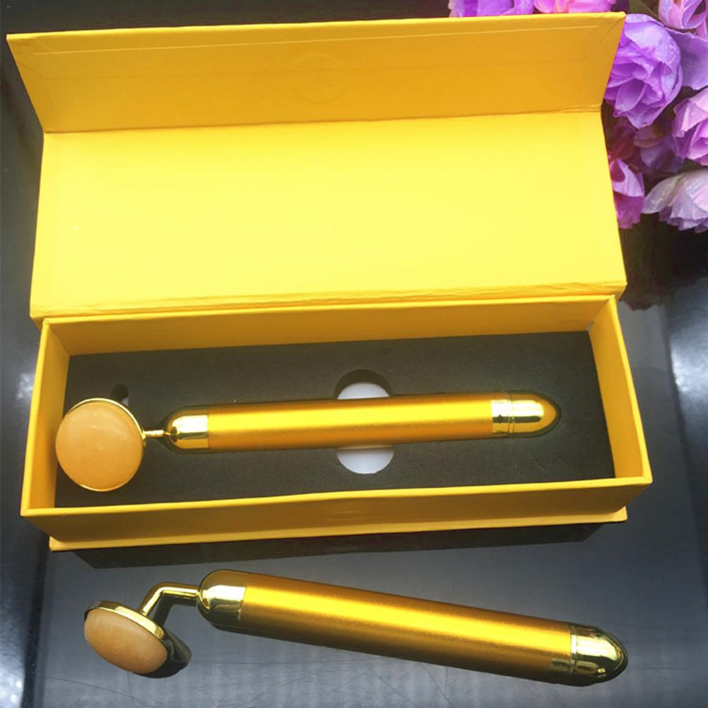 24k Golden Jade Beauty Bar Face Lifting Slimming Helper Electric Roller Massage Stick Face Skin Care Tools