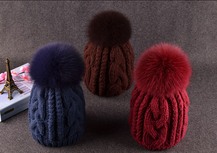 BomHCS Cute Women Beanie Luxury Fur Hairball Autumn Winter Comfortable Warm 100% Handmade Knitted Hat