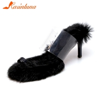 KARINLUNA Brand New Fashion Rabbit Hair Ladies High Heels Mules Women Shoes Woman Casual Outside Party Summer Slippers 2019