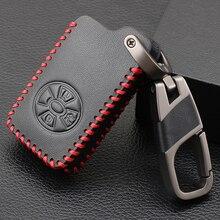 3 أزرار سيارة الذكية حقيبة غطاء للمفاتيح لتويوتا RAV4 2009 2011 راف 4 يارس 2011 مفاتيح المفاتيح حقيبة جلدية مع حلقة رئيسية