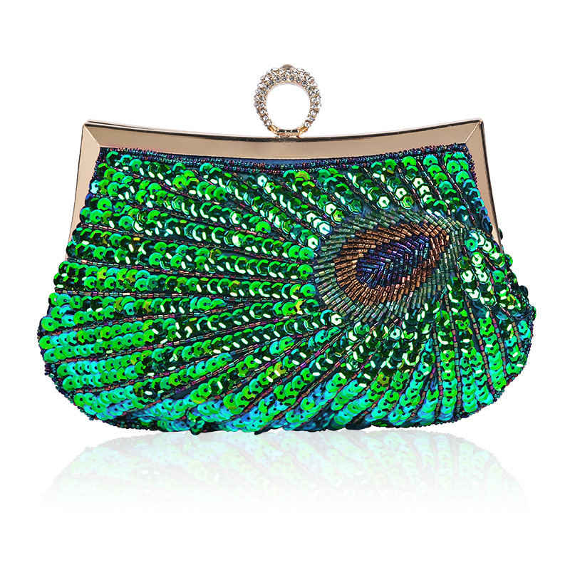 Vintage Evening Bag Full of Sequin with Detachable Chain, Beaded Evening Clutch for Wedding and Dating sequin detail chain bag
