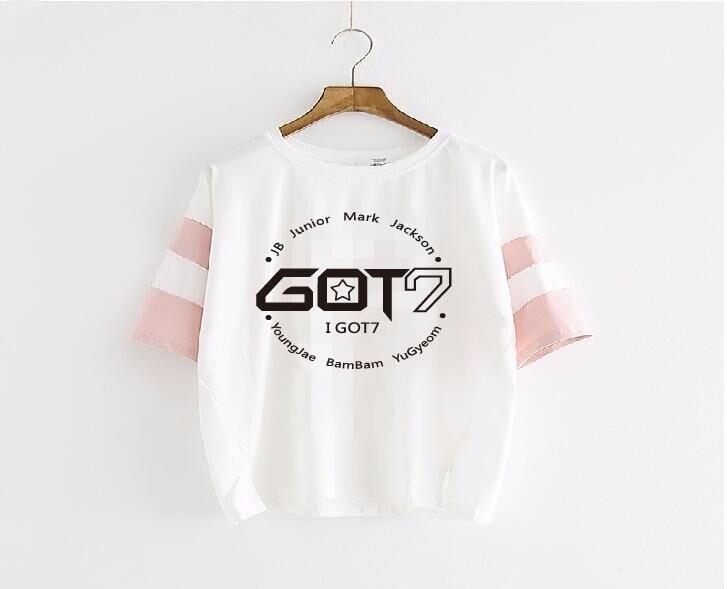 GOT7 Kpop biology ultra leisure clothing letter short sleeve shirt yards kpop GOT7 biology and big sleeves woman Tees