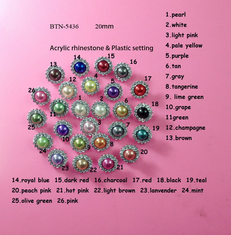 Free shipping 20mm PLASTIC pearl rhinestone buttons with shank 100PCS/LOT Can choose colors(BTN-5436)
