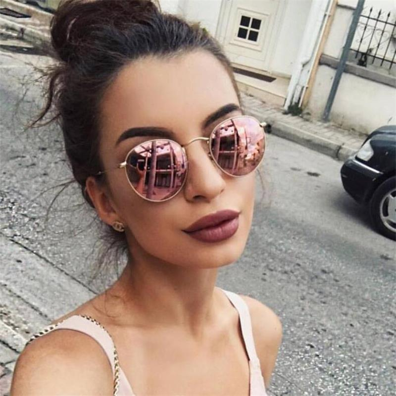 Beautiful Small Round Sunglasses Men Retro Mirror Sunglasses Designer Brand Luxury Classic Shades For Women Metal Eyewear Cute Pink Glass