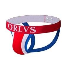 ORLVS Brand Sexy Mens Jockstraps Gay Jocks Cotton Low Rise Thongs Underwear Double pipe G Strings men Brief Bikini