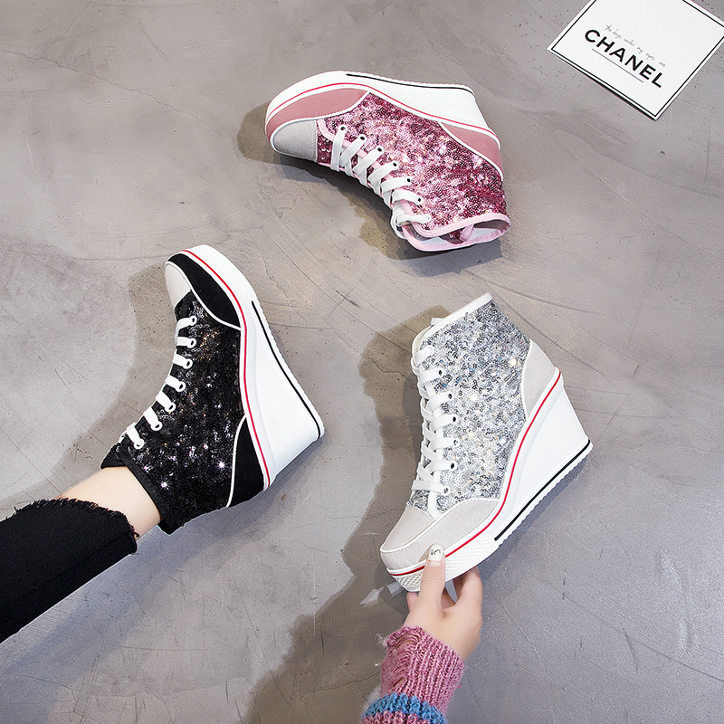 Height Increasing Wedges Lace Up Flats Casual Ankle High Top Sliver Canvas Shoes Glitter Sequins High Top Women Shoes Plue SizeHeight Increasing Wedges Lace Up Flats Casual Ankle High Top Sliver Canvas Shoes Glitter Sequins High Top Women Shoes Plue Size