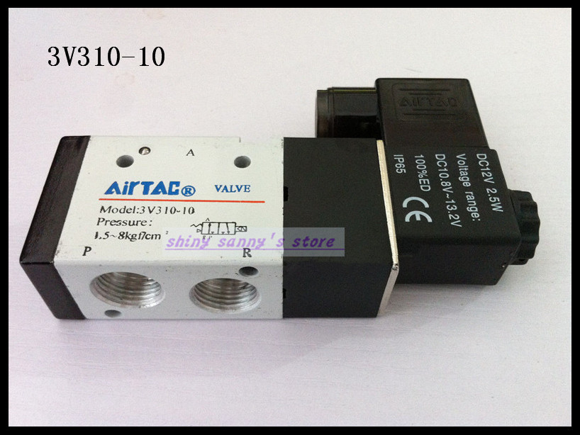 1Pcs 3V310-10 DC12V 3Port 2Position 3/8 BSP Single Solenoid Pneumatic Air Valve Brand New 1pcs 4v110 06 ac220v lamp solenoid air valve 5port 2position bsp
