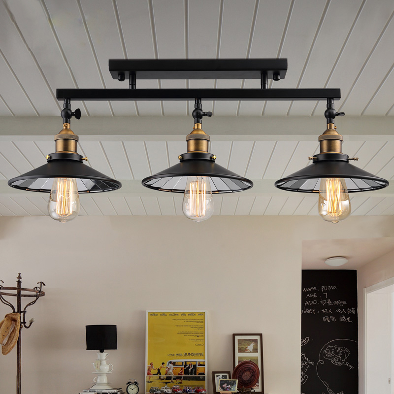 Fashion vintage loft iron ceiling light fixture home deco for Living room ceiling light fixture