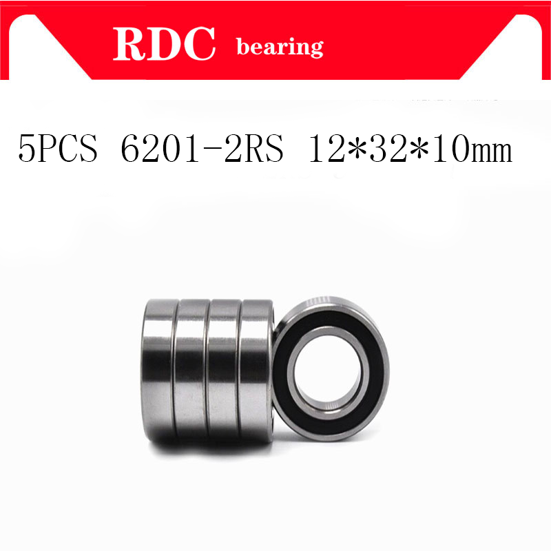 5PCS High Quality ABEC-5 6201 2RS 6201RS 6201-2RS 6201 RS 12x32X10 Mm Double Rubber Seal Groove Ball Bearing For Bicycle Hubs