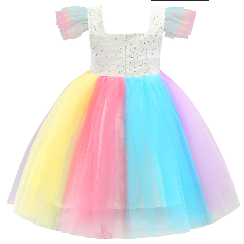 Baby Girls Unicorn Rainbow Christmas Brithday Sequin Tutu Dresses Clothes Children Kids Princess Party Little Pony Clothing 4