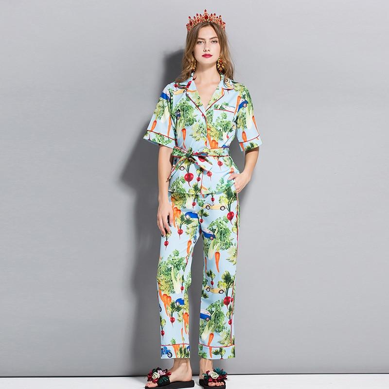 696f47ac1d2 Модные женские пижамы винтажные Штаны ПИФов Новые 2018 летние блузки с  коротким рукавом Топы + Прямые