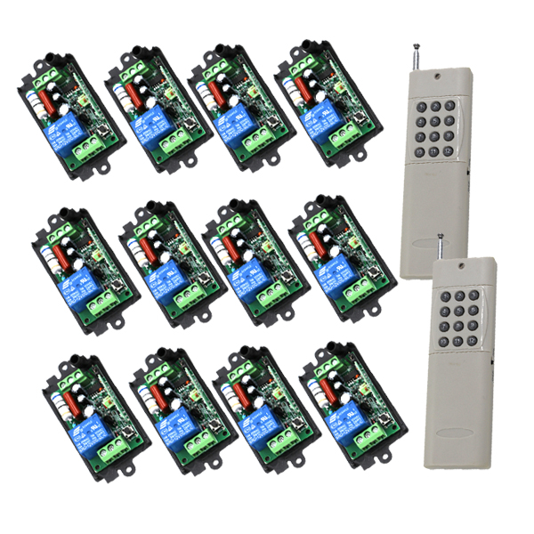 High Power AC 110V 220V 10A 1Channel RF Wireless Digital Remote Control Switch System 12 Receiver and 2 Transmitter SKU: 5450