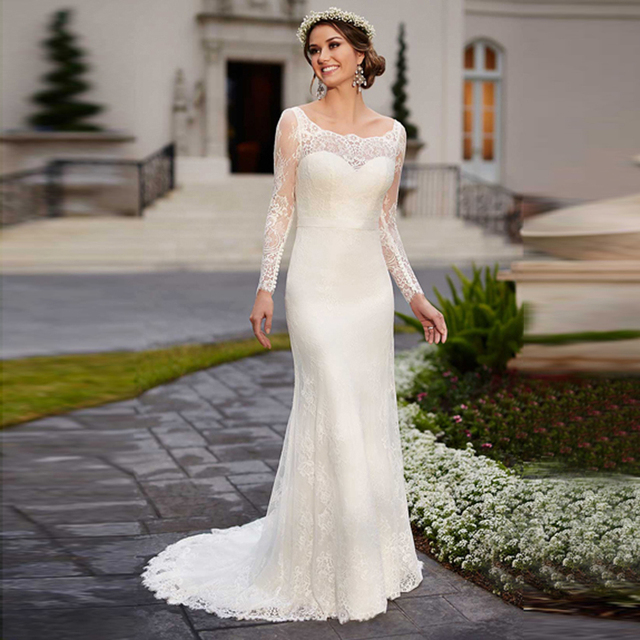 Alice Lace Vestido De Noiva Sheath Backless Wedding Dresses 2017 Bridal Dress With Long Sleeves