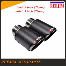 Inlet 76mm( 3″) Outlet 76mm (3″) Stainless Steel Universal  Carbon Fiber Akrapovic Car Exhaust Tip car-styling exhaust car