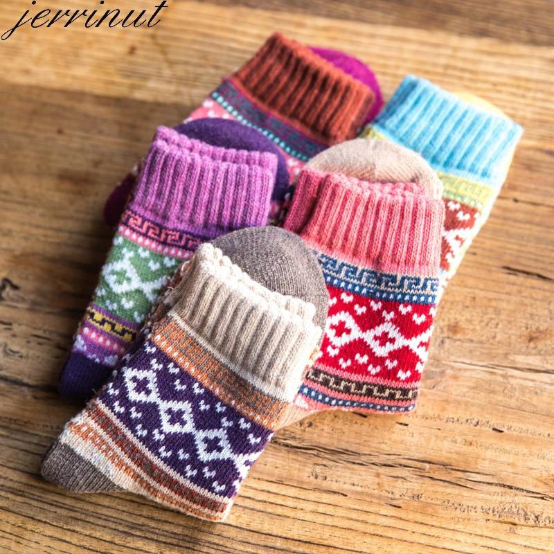 Jerrinut Women Autumn Winter Thick Warm Wool Socks Cotton Casual Fashion Harajuku Socks With Print Cute Thermal Socks Crew 1Pair