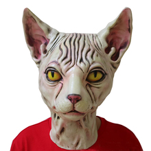 Eraspooky Realistic Latex Horror Sphynx Mask Halloween Costume Adult Scary Cat Carnival Party Bar Supplies