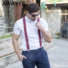 AWAY Leather Male Suspenders Fashion Adult Red Wine 4 Clips Elastic Straps for Jane /Pants Dot/Plaid Bretels Mannen
