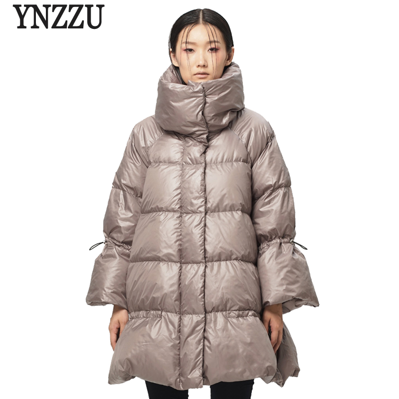 YNZZU New Winter Women's   Down   Jackets Loose Solid 90% White Duck   Down     Coats   Stand Collar Warm Female Jacket High Quality YO398