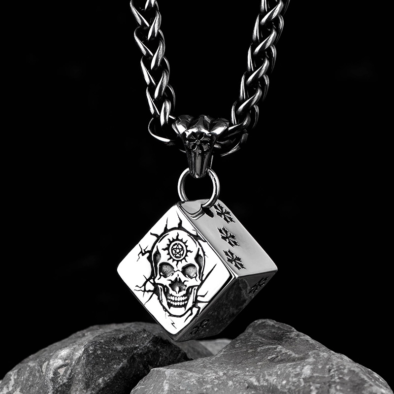 Skull Dice pendant with snow stainless steel fate necklace for men and women retro skull anchor pendant necklace for men