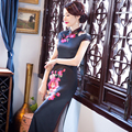 Charming Retro Women Satin Silk Cap Sleeve Cheongsam Chinese Traditional Wedding Evening Dress High-slit Long Black Qipao QP7