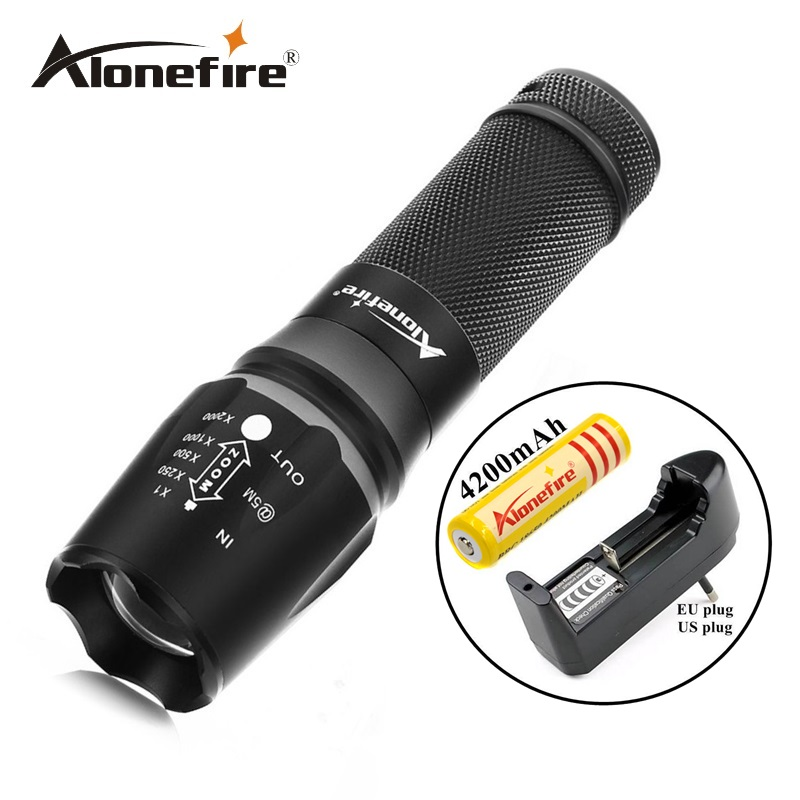 Alonefire X800 2000LM Zoomable light gun Tactical Flashlight CREE XML T6 LED adjustable flashlight Torch+18650 battery+charger led cree xml t6 flashlight 6000lumens torch 5modes tactical flashlight zoomable flash light 18650 battery charger