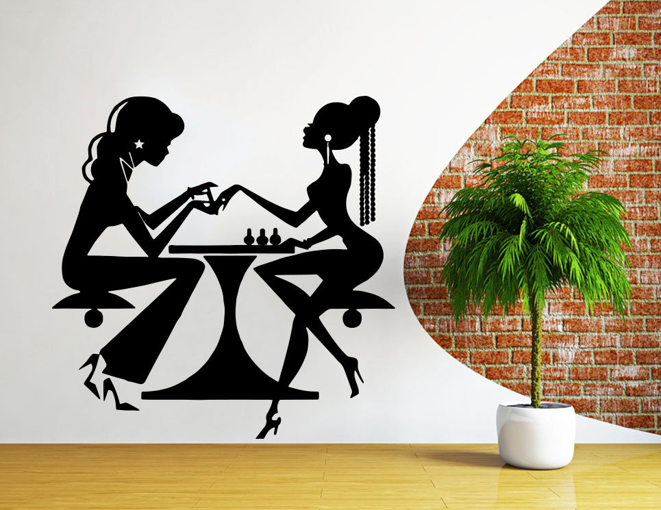 Wall decal salon poster beauty salon nail art manicure - Stickers deco salon ...