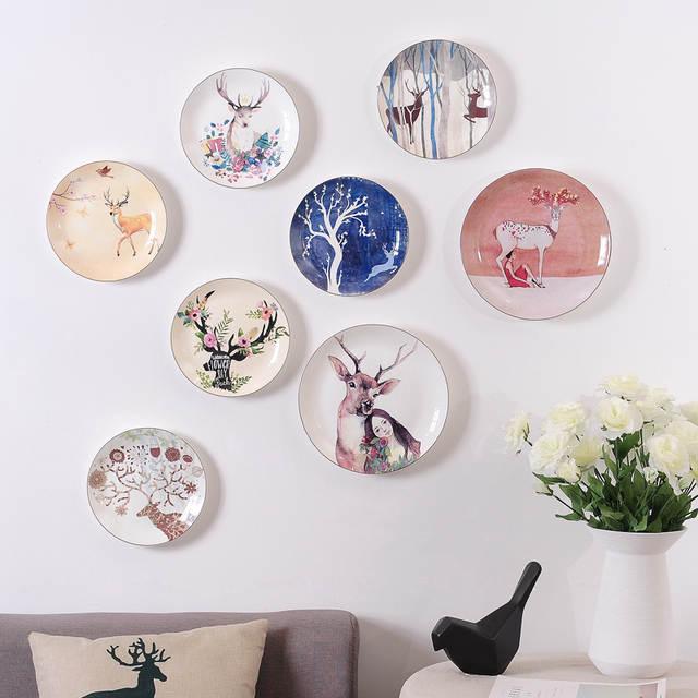 Placeholder Ins Creative Plate Ceramic Wall Hanging Decorative Dish Deer Head Diy Design Modernand Elegant Bar