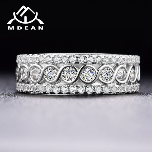 MDEAN White Gold Color Round Rings for Women Engagement Wedding Clear AAA Zircon Jewelry Bague Bijoux Size 6 7 8 9 10 H517 4