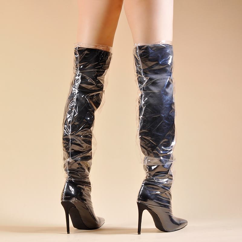b11de4fb3e7fc ... High Clear Plastic Boots With Thick Sponge Inside Over the Knee. sku:  32918471158