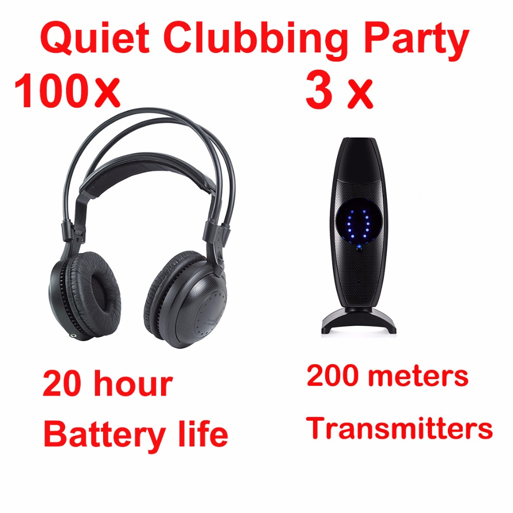 Professional Silent Disco compete system wireless headphones - Quiet Clubbing Party Bundle (100 Headphones + 3 Transmitters)Professional Silent Disco compete system wireless headphones - Quiet Clubbing Party Bundle (100 Headphones + 3 Transmitters)