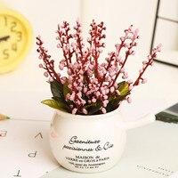New Design Plastic Simulation Flower Ceramic Flower Pots Container Fake Flower Figurine Home Garden Decor Flowers
