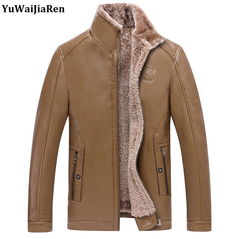 YuWaiJiaRen Men's Thick Winter Coat Fur Business Vertical Collar High Grade PU Leather Jacket Fashion Warm Overcoat Faux Leather