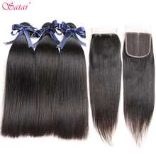Satai Hair Brazilian Straight Human Hair Bundles With Closure Natural Color 3 Bundles With Closure Free Part Remy Hair Extension