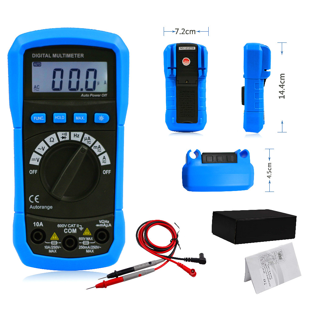 BSIDE ADM01 Digital Multimeter Auto Ranging DC/AC Voltage Current Resistance Tester Backlight Multimetro Digital Profissional 1 pcs mastech ms8269 digital auto ranging multimeter dmm test capacitance frequency worldwide store
