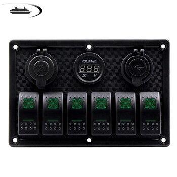 5PIN Painel Rocker Switch para Carro Caminhão Barco Marinha RV Fusível Painéis de Exibição Voltímetro Digital Dual USB Charger Porto DC 12 V