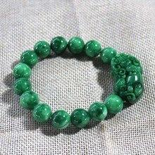 Бирма нефритовый браслет зеленый нефрит pixiu браслеты для мужчин и женщин для влюбленных Прямая поставка