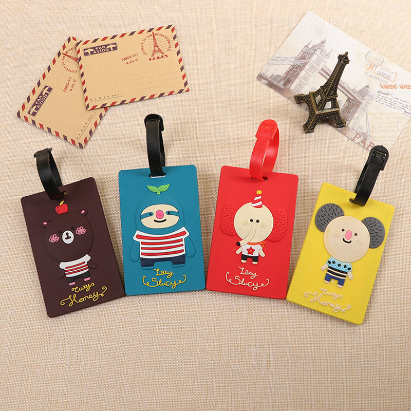 OKOKC Cartoon Style Suitcase Luggage Tags Travel Accessories Luggage Tag Fashion PVC Portable Travel Label