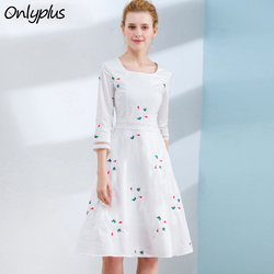 ONLY PLUS S-XXL New Floral Embroidered Dress Cotton White Dress Woman Fashion Sweet Holiday Party Dresses For Female