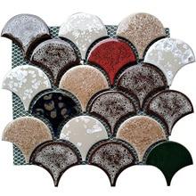 17 шт. рыбные весы керамические мозаичные плитки кухонные щитки телвизор для ванной комнаты самоклеящаяся стенная плитка керамические изделия для душа напольная плитка