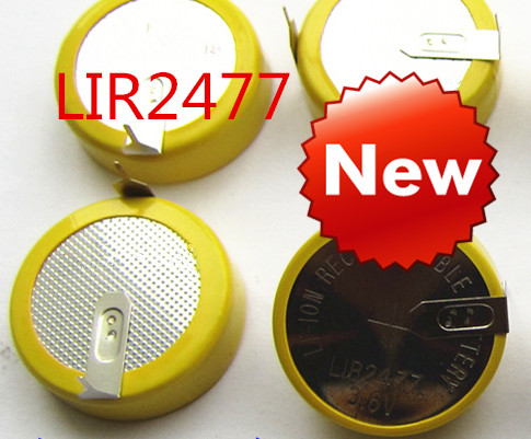 Free Shipping  NEW  LIR2477 Horizontal Welding Foot Battery 3.6V Rechargeable Coin Cell Battery Charging LIR2477 3.6V